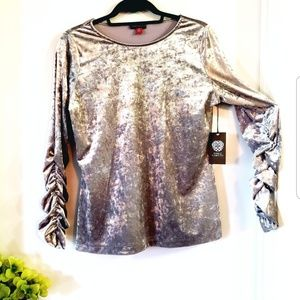 Vince Camuto Bronze Velvet Ruched Long Sleeves Top